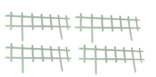 33 inch Long White Plastic Garden Border Picket Fence Panel Set of 4