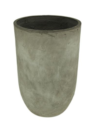Tall Round Grey Cement Indoor/Outdoor Planter