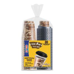 Bistro Hot/Cold Foam Cups With Lids 12 OZ Brown 50/Pk | 1 Pack of: 50