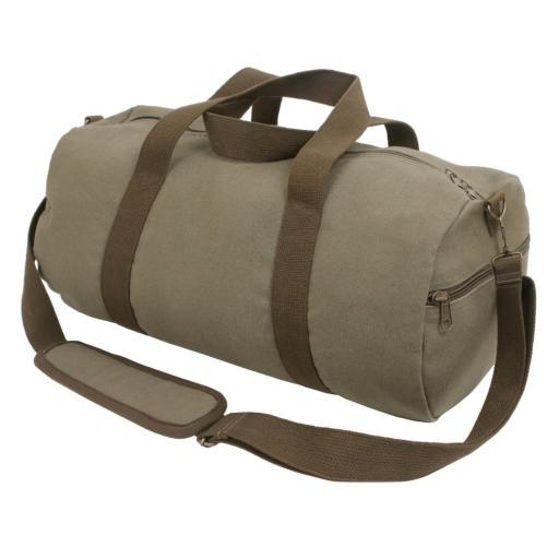 Rothco Two-Tone Canvas Shoulder Duffle Bag, Vintage Olive with Brown Straps