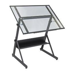 Studio designs inc. 13346 solano adjustable drafting table charcoal/clear glass