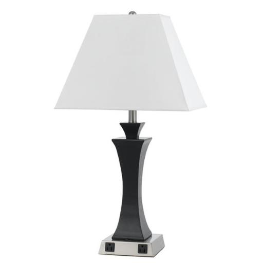 Cal Lighting LA-8021NS-1-BS 60W Metal Night Stand Lamp with Rocker Switch and 2 Outlets - 29 in.