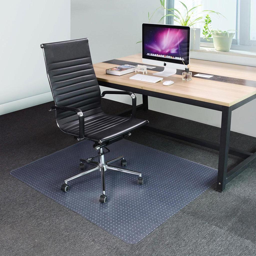 """YesHom 60x46"""" Rectangle PVC Floor Mat Protector Studded Back 2.5mm for Low Pile Carpet Home Office Rolling Chairs"""