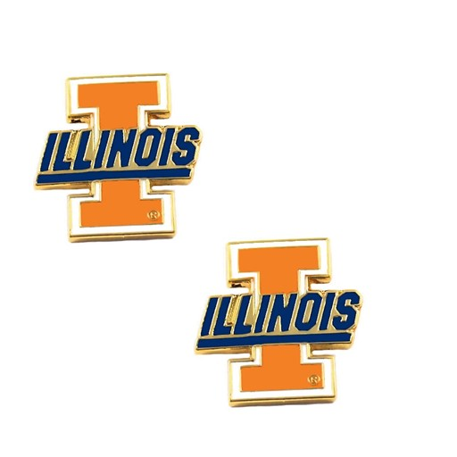 Sports Team Logo Illinois Fighting Illini Post Stud Earring NCAA Charm Set