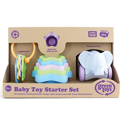 Green Toys Baby Toy Starter Set (First Keys, Stacking Cups, Elephant)