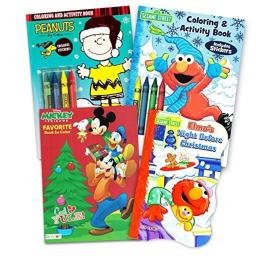 Sesame Street Holiday Coloring Book Super Set for Kids Toddlers -- 3 Festive Activity Books, Stickers and Crayons (Stocking Stuffer Set)
