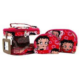 Betty Boop Makeup Bag 3 Pieces Set (Pink), Medium