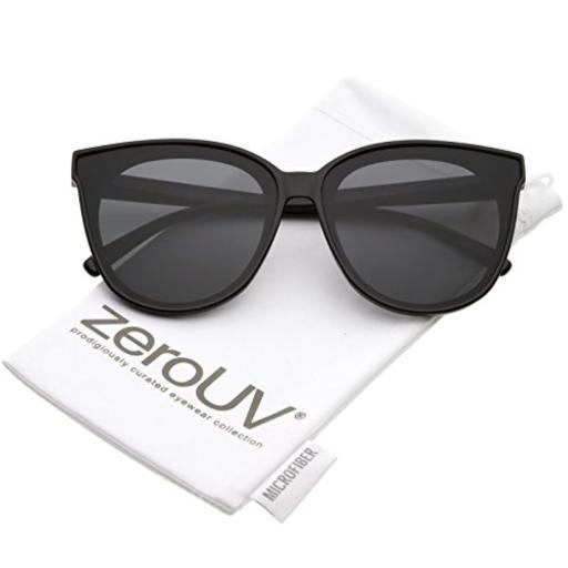 zeroUV - Oversize Neutral Color Flat Lens Cat Eye Sunglasses 60mm (Black/Smoke) Oversize Cat Eye Sunglasses*Neutral Color Flat Lens*Unique Lens Lining*Metal Hinges*30 DAY MONEY BACK GUARANTEE AND 90 DAY LIMITED WARRANTY AGAINST MANUFACTURER DEFECTS