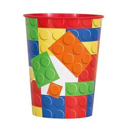 16oz Building Blocks Birthday Plastic Cup