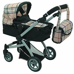 Babyboo Deluxe Doll Pram Color Beige Plaid with Swiveling Wheels Adjustable Handle and Free Carriage Bag 9651B Beige Plaid