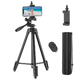 54 Cell Phone Tripod With Rechargeable Remote, Aluminum Lightweight Travel Tripod With Extendable Tripod Stand, Phone Holder And Carry Bag, For Cellphonesgoprodigital Cameras