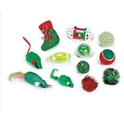 Zanies Fun Filled Holiday Cat Stocking with Assorted Cat Toys