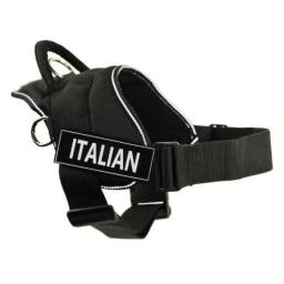 DT Fun Harness, Italian, Black with Reflective Trim, X-Large - Fits Girth Size: 34-Inch to 47-Inch