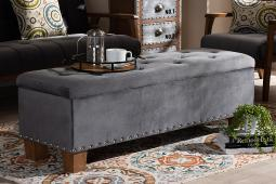 Baxton Studio Hannah Modern and Contemporary Grey Velvet Fabric Upholstered Button-Tufted Storage Ottoman Bench