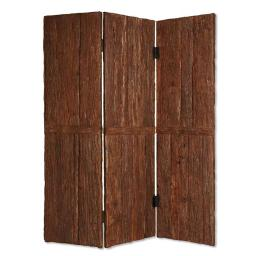 Wooden Foldable 3 Panel Room Divider with Plank Style, Small, Brown