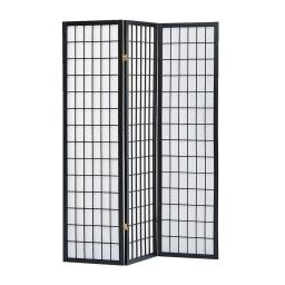 Wooden 3 Panel Room Divider with Shoji Paper Inserts, Black and White