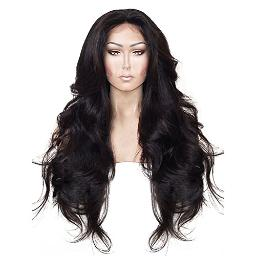 Anogol Hair Cap+24'' Long Natural Wavy Black Synthetic Lace Front Wig Hair Wigs