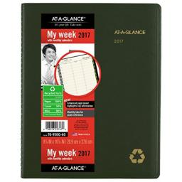 """AT-A-GLANCE Weekly / Monthly Appointment Book / Planner 2017, Recycled, 8-1/4 x 10-7/8"""", Green (70-950G-60)"""