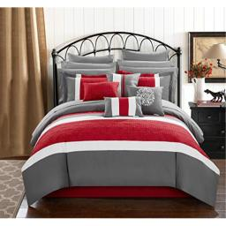 Chic Home Pisa 16 Piece Bed in a Bag Comforter Set, King, Red,