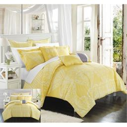 Chic Home 6 Piece Sicily Oversized Overfilled Comforter Set, Twin, Yellow