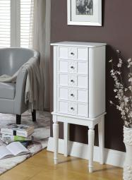 Wood Jewelry Armoire With 5 Drawers in White