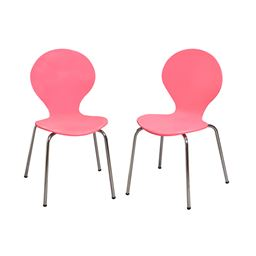 Gift Mark Modern Childrens 2 Chair Set with Chrome Legs - Pink Color