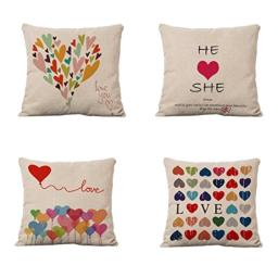 Set of 4 Sofa Throw Pillow Covers YIFAN 17*17 Inch Colorful Love Heart Decorative Pillowslip Square Fashion Throw Pillow Case Cushion Cover Home Decor