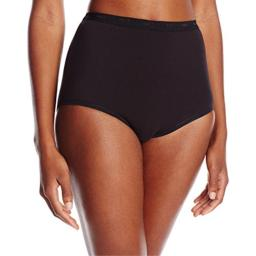 Bali Women's Stretch Brief Panty, Black, 6