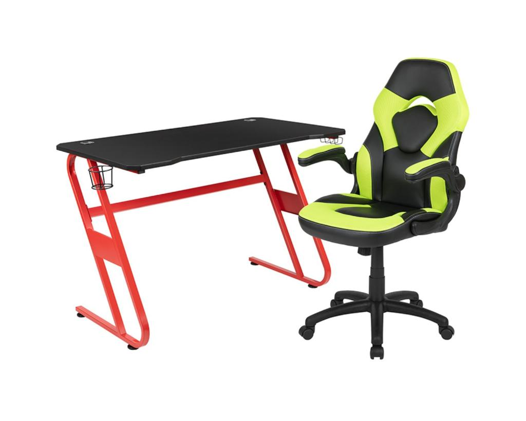 Offex Red Gaming Desk and Green/Black Racing Chair Set with Cup Holder and Headphone Hook