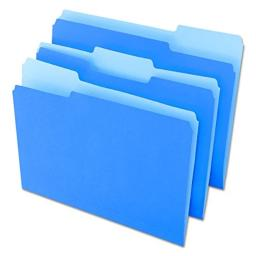 Universal 10501 File Folders, 1/3 Cut One-Ply Top Tab, Letter, Blue/Light Blue (Box of 100)