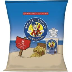Pirate's Booty Snack Puffs, Aged White Cheddar, 1 Ounce, 6 Count (Pack of 12)