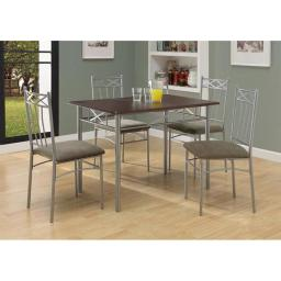 Offex OFX-284073-MO Cappuccino/Silver Metal 5 Piece Dining Set