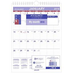 """AT-A-GLANCE PM128-18 Monthly Wall Calendar, January 2018 - December 2018, 8"""" x 11"""", Wirebound, Mini Size (PM128)"""