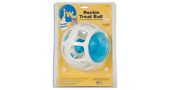 JW Pet Company Rockin Treat Ball for Dogs .TREAT BALL TOY: This toy for small, medium, and large dogs is a modern ball that rocks, rolls, and slides while dispensing treats for hours of fun. Treats easily go inside the tube with a tightly-screwed cap.TREAT DISPENSING TOY: The inner treat tube holds treats and the open frame makes it easy for dogs to pick up the ball to carry, fetch or catch. Great for dog food, kibble and their favorite treats!.PET TOYS: Get ready for bonding & fun with your dogs & cats! Check out a variety of our pet toy products such as frisbees, perches & mirrors for birds, prey wand toys for cats, plush toys, light-up interactive toys & more.JW: JW pet products design intricate toys for dogs, cats & birds to keep your pet entertained. Checkout JW products for mirror bird toys, perches for birds, play gym & rope toys, dog treat toys, catnip toys, interactive toys, & more!.JUST FOR PETS: Petmate makes a variety of pet products for dogs, cats, chickens & other small furry friends! Check out our brands such as Aspen Pet, Arm & Hammer, Booda, Chuckit!, Jackson Galaxy & more!.