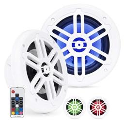 Belva BMRGBWH 500W White Pair of 6.5-inch 2-Way Water-Resistant Marine Speakers with RGB Illumination