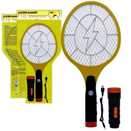 Koramzi Electric Mosquito Swatter / Bug Zapper With Rechargable Battery, Handle light, and Removable Flashlight Insect Control- F-10 (Newest model) F-10