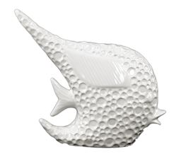 Urban Trends  Porcelain Angel Fish Figurine Dimpled Gloss Finish White