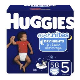HUGGIES OverNites Diapers, Size 5 for over 27 lbs., Pack of 58 Overnight Baby Diapers