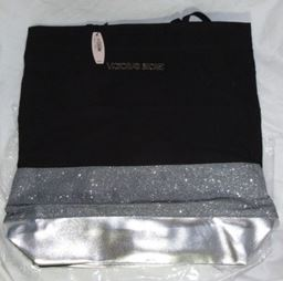 Victoria's Secret Black & Silver Glitter Tote Bag