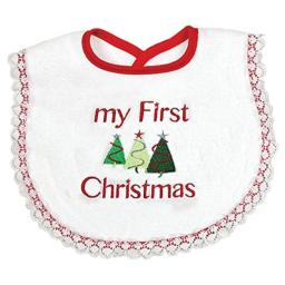 """Raindrops""""My First Christmas"""" Bib Lace, Red"""