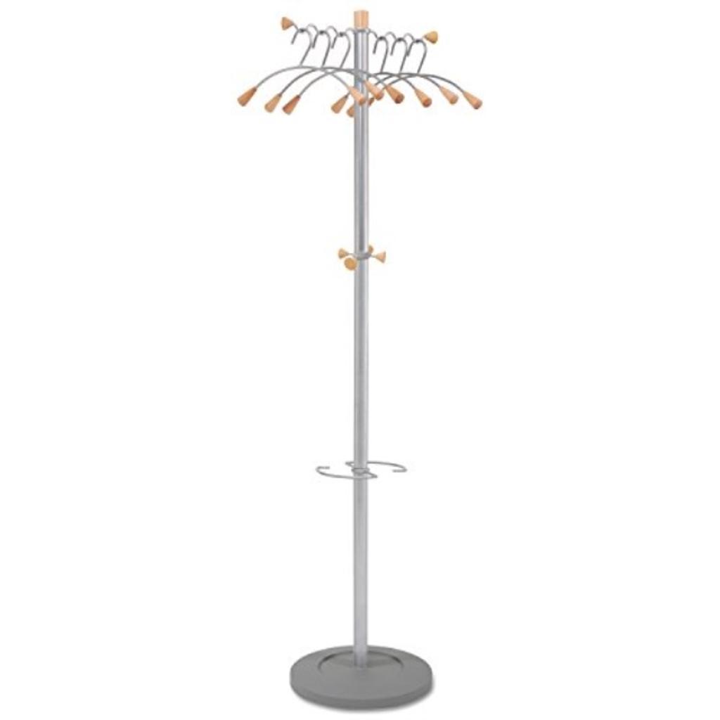 Alba PMWAVE Wavy Coat Tree, Six Hangers/Two Knobs/Four Hooks, Silver Steel/Wood