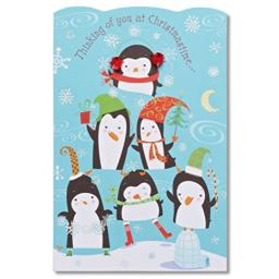 American Greetings Penguin Christmas Card with Glitter