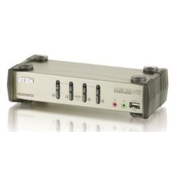 ATEN 4-Port USB 2.0 KVMP Switch with Audio Support and Cables CS1734B (Silver)