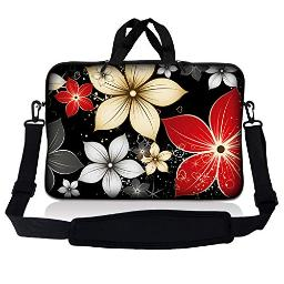 LSS 17-17.3 Laptop Sleeve Bag Compatible with Acer, Asus, Dell, HP, Sony, MacBook and more | Carrying Case Pouch w/ Handle & Adjustable Shoulder Strap,Daisy Flower Leaves Floral