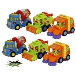 Bezrat Toys, Street Sweeper Truck, Cement Mixer Truck, Harvester Truck Toy Set Push and Go Friction Powered Wind it Watch it Go