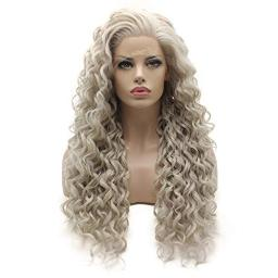 Lushy Long Curly Light Grey Wig Heavy Density Half Hand Tied Heat Resistant Synthetic Lace Front Wig