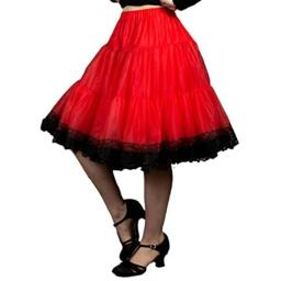 Malco Modes Zooey Luxury Chiffon Child Petticoat Slip, Lace Trim, Adjustable Waist and Length, Ideal for Moderate Lift for Rockabilly 50s, Everyday Wear (X-Small, Red-Black Chiffon)