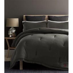 Beverly Hills Polo Club Solid Cotton Rich Ultra-Soft Jersey Knit 3 Pieces Comforter Set,1 Comforter, 2 Pillow Shams (Queen, Gray)