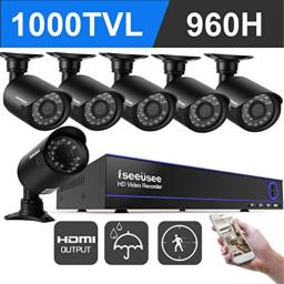 ISEEUSEE 8 Channel 960H DVR Home Video Surveillance System with HDMI Ouput 6pcs 720P Weatherproof Night Vision Outdoor Security Cameras with No HDD
