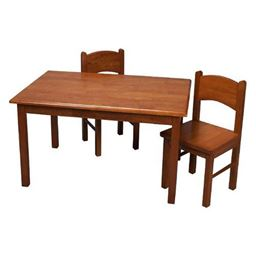 Gift Mark Natural Hardwood Rectangle Table and Chair Set - Honey Finish